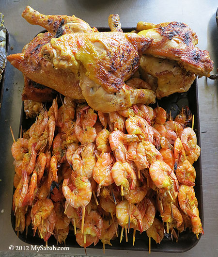 BBQ chicken and shrimps