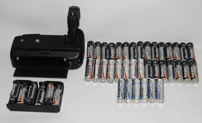 Battery grip and batteries