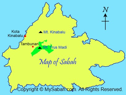 Map of Mt. Trus Madi