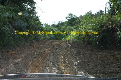 Muddy road to Mt. Trusmadi