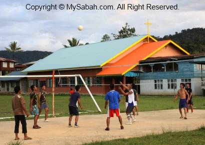 Villagers playing volleyball