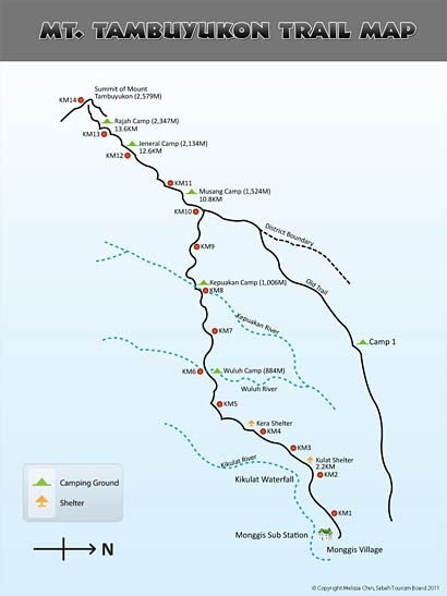 Summit trail map of Mt. Tambuyukon