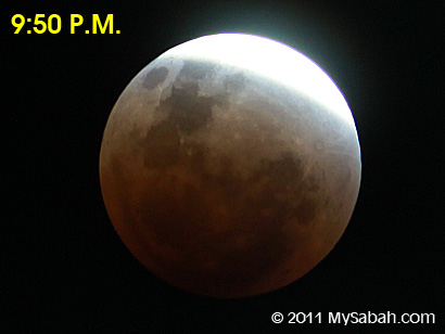 lunar eclipse at 9:50pm