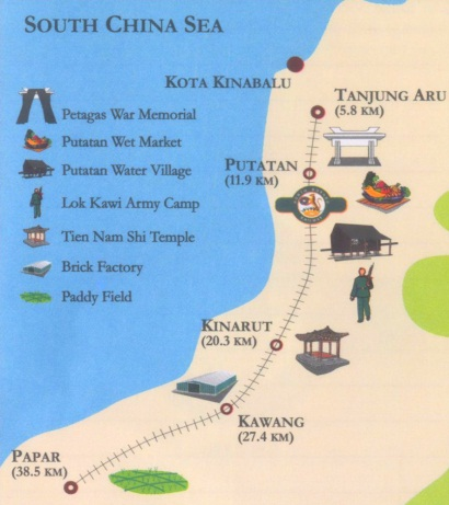 route map of North Borneo Railway tour
