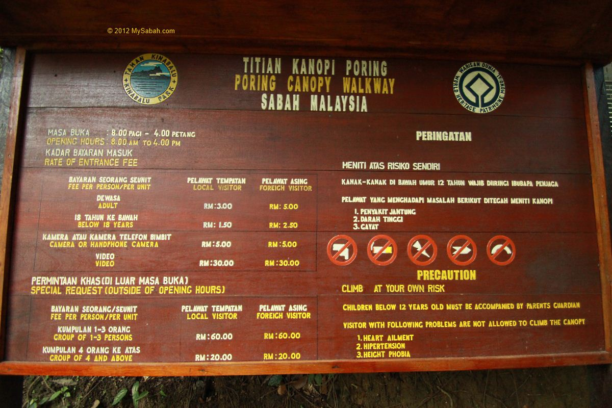 signage of Canopy Walkway & Poring Canopy Walkway the highest in Sabah - MySabah.com