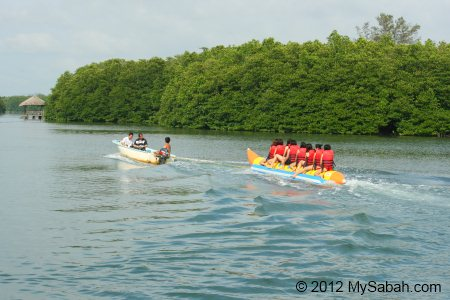 riding banana boat in river