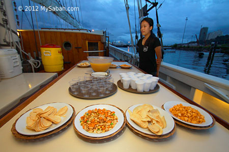 snacks and drink for sunset cruise