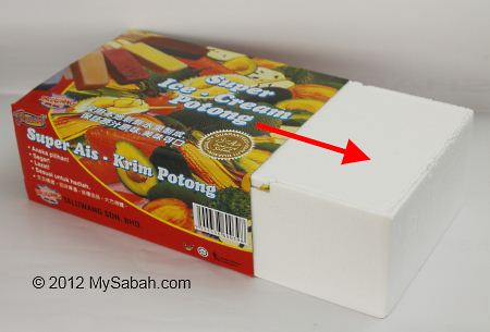 styrofoam packing of Sabah ice-cream