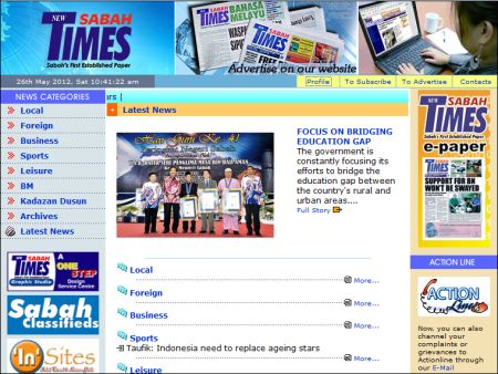 website of New Sabah Times