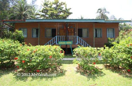 hostel of Sabah Parks on Pulau Tiga Island