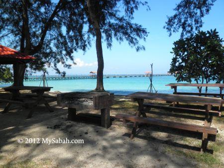 BBQ area of Sabah Parks on Pulau Tiga