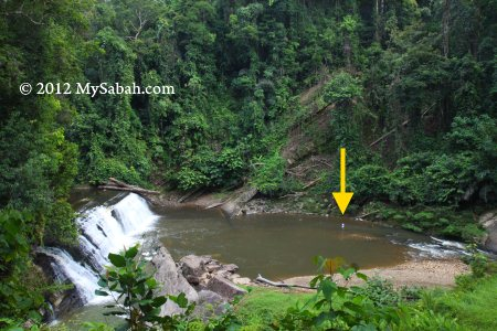 view of Imbak Waterfall from platform