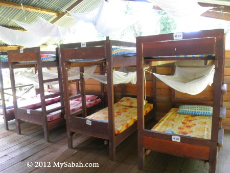 bunk beds in Tampoi Research Station of Imbak Canyon Conservation Area