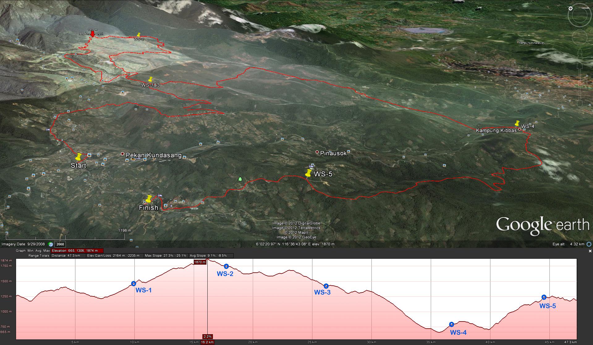 50KM trail map of The Most Beautiful Thing (Ultra Trail Run)