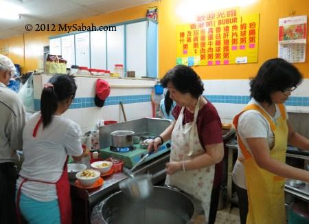 preparing porridge