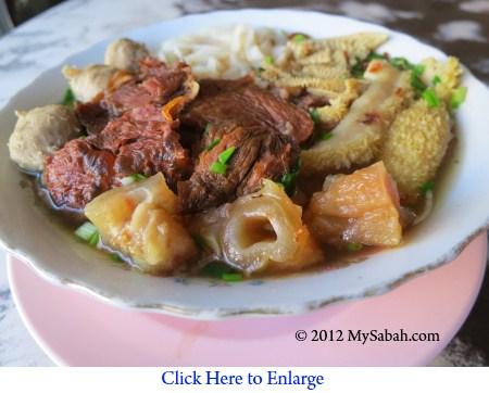 close-up of Ngau Chap noodle