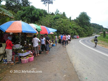 durians for sale at roadside