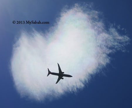 plane fly across color cloud