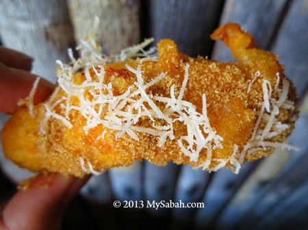 close-up of Pisang Goreng Cheese