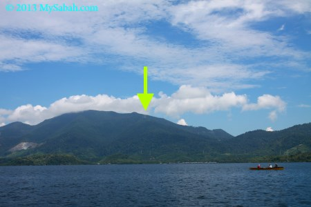 view of Mt. Silam from the sea