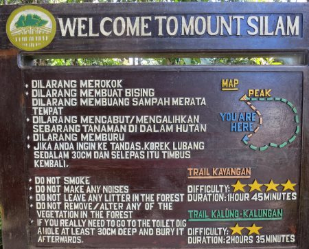 signage and trail map of Mt. Silam