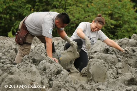 walking in mud volcano