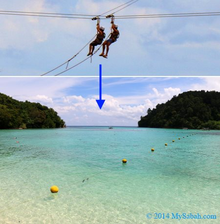zipline between Sapi and Gaya Island
