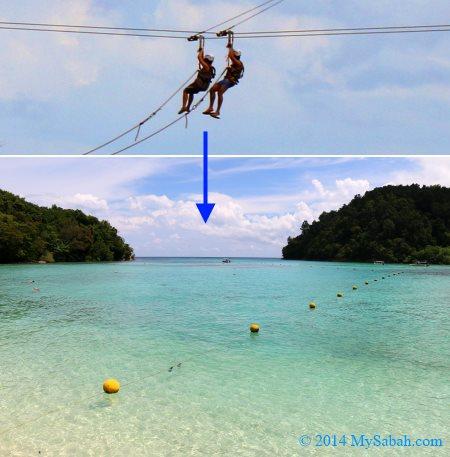 zipline between Sapi and Gaya Island