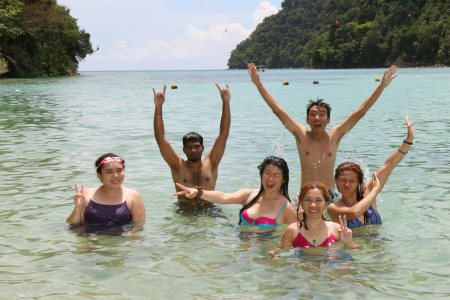 swimming on Pulau Sapi