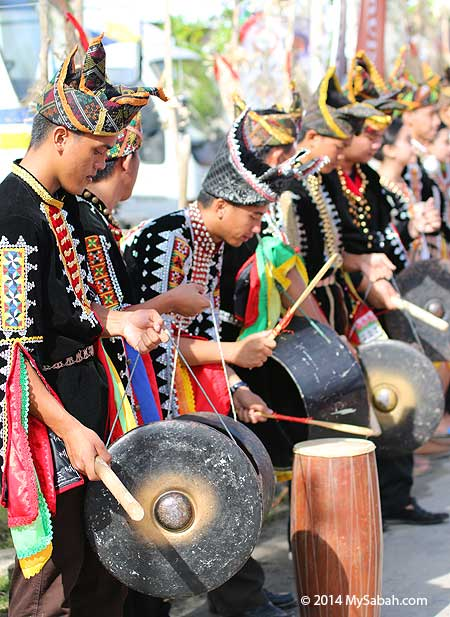 Dusun Tindal people playing gong