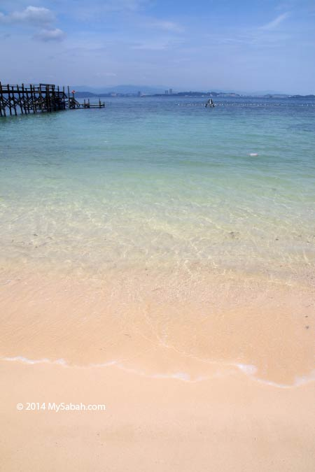 sandy beach of Sepanggar Island