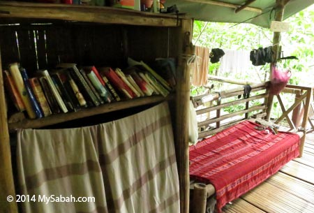 reading corner of Lupa Masa Jungle Camp