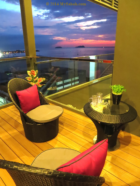 seats with sunset view