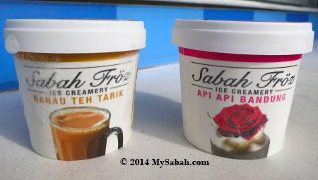 Sabah ice cream in Ranau Teh Tarik and Api-Api Bandung flavors