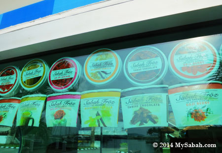 labels of different Sabah ice cream