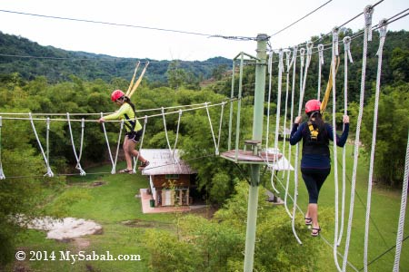 high ropes challenge: Spaghetti Walk and Burma Bridge