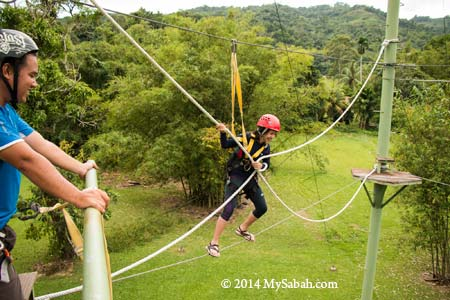 high ropes challenge: Tension Traverse
