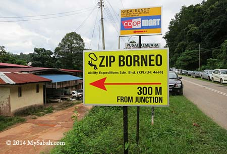 signboard of Zip Borneo