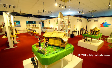 dolls and miniature traditional houses in Chanteek Borneo Gallery