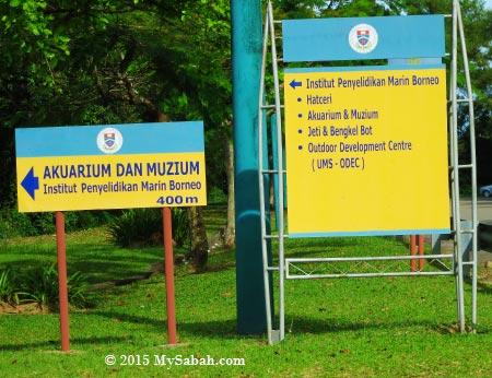 signboard to UMS Aquarium (Akuarium dan Muzium)