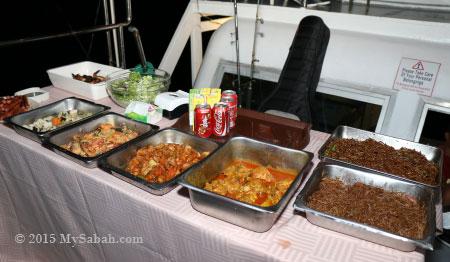 buffet dinner onboard