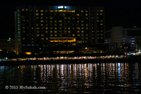 Le Meridien Hotel and Night Market of Kota Kinabalu city
