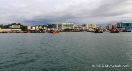 view of Kota Kinabalu city from the sea