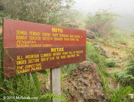 notice to non-summit climbers