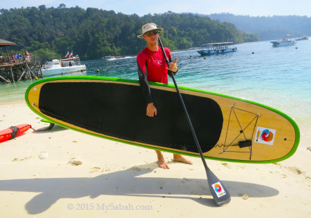 instructor and Stand Up Paddle Board
