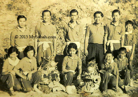 old photo of Qilin Unicorn dance troupe