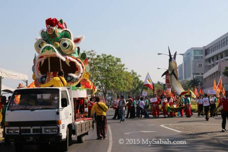 Unicorn (Qilin) Head and parade in Kota Kinabalu City
