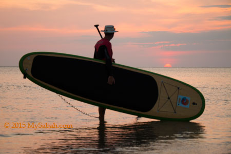 Stand-up paddle-boarding at Tanjung Aru First Beach