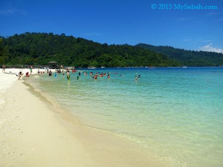 white sandy beach of Pulau Sapi