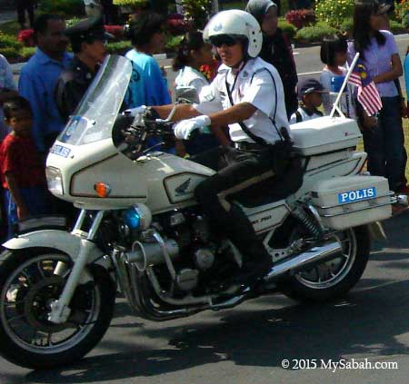 Malaysia traffic police on a bike